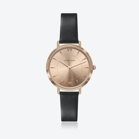 Rose Gold Watch w/ Coffee Sunray Face & Black Leather Strap