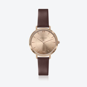 Rose Gold Watch w/ Coffee Sunray Face & Brown Leather Strap