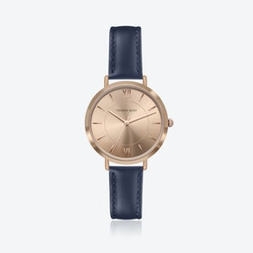 Rose Gold Watch w/ Coffee Sunray Face & Blue Stitch Leather Strap