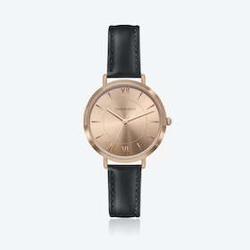 Rose Gold Watch w/ Coffee Sunray Face & Black Stitch Leather Strap