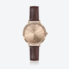 Rose Gold Watch w/ Coffee Sunray Face & Brown Stitch Leather Strap