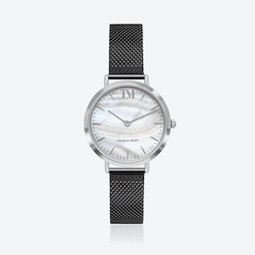Silver Watch w/ Seashell Face & Black Mesh Strap