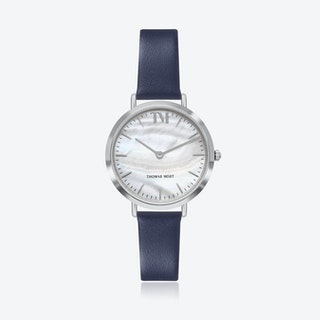 Silver Watch w/ Seashell Face & Blue Leather Strap
