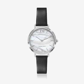 Silver Watch w/ Seashell Face & Black Leather Strap