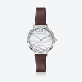 Silver Watch w/ Seashell Face & Brown Leather Strap