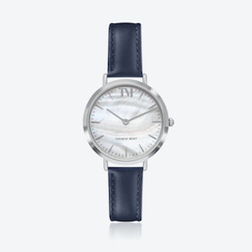 Silver Watch w/ Seashell Face & Blue Stitch Leather Strap