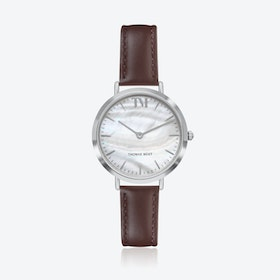 Silver Watch w/ Seashell Face & Black Stitch Leather Strap