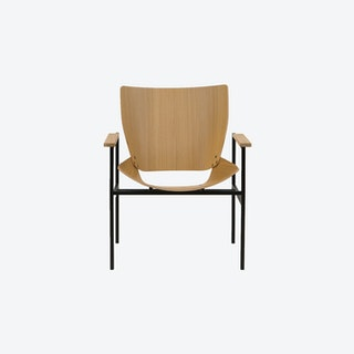 Shell Square Lounge with arms oak