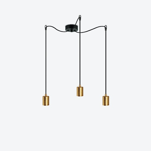 Cero 3 Pendant Light - Black w/ Imitation Gold Leaves