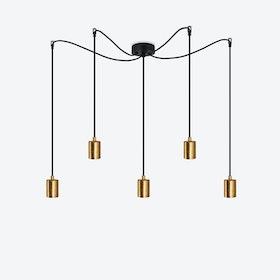 Cero 5 Pendant Light - Black w/ Imitation Gold Leaves