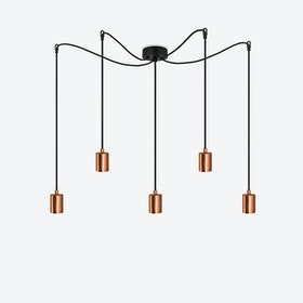 Cero 5 Pendant Light - Black w/ Copper Leaves