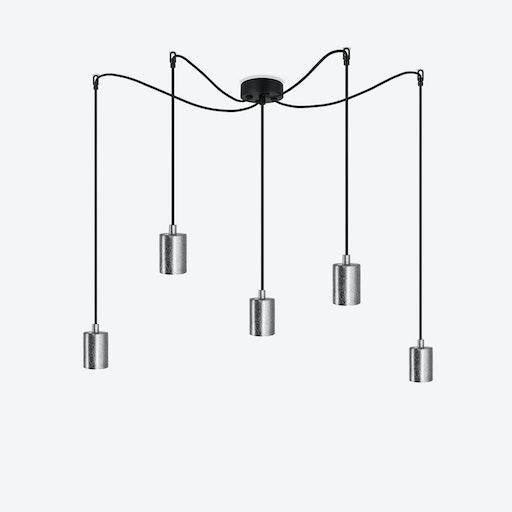 Cero 5 Pendant Light - Black w/ Imitation Silver Leaves
