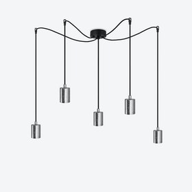 Cero 5 Pendant Light - Black w/ Imitation Silver Leaves