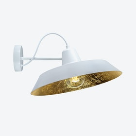 Cinco Wall Lamp - White w/ Imitation Gold Leaves