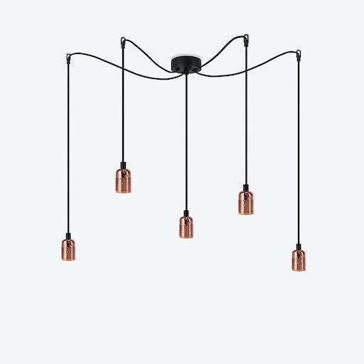 Uno 5 Pendant Light - Glossy Copper/Black Nut