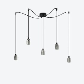 Uno 5 Pendant Light - Glossy Nickel/Black Nut