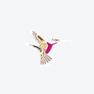 Hummingbird Brooch in Pink