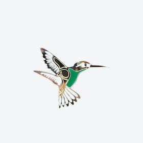 Hummingbird Brooch in Silver Bottle Green