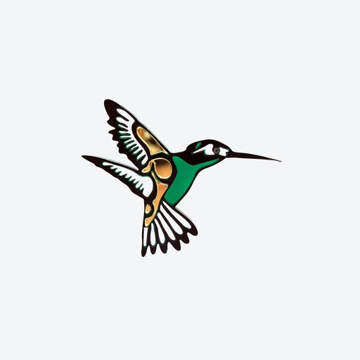 Hummingbird Brooch in Black Bottle Green
