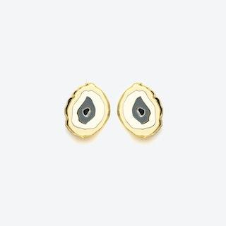 Agate Earrings in Beige Grey