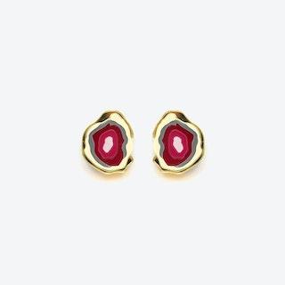 Agate Earrings in Maroon Pink