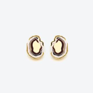Agate Earrings in Brown Beige