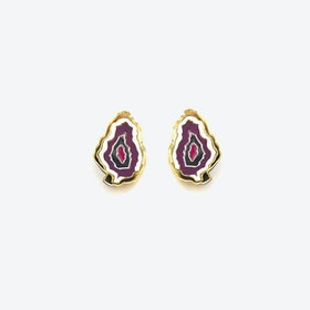 Agate Earrings in Purple Pink
