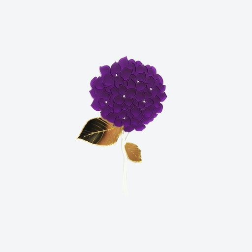 Hydrangea Flower Brooch in Purple