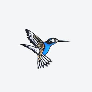Hummingbird Brooch in Light Blue