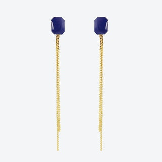 Gold Plated Octagon Stud and Chain Earrings in Navy
