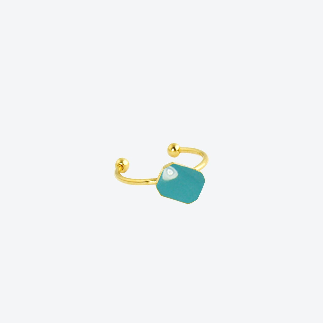Gold Plated Octagon Ring in Light Teal