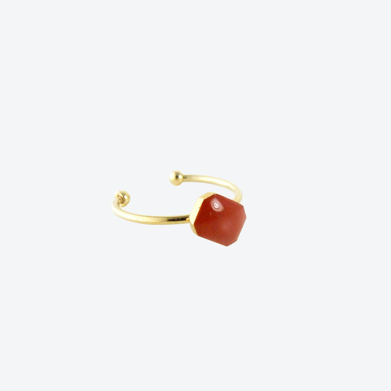 Gold Plated Octagon Ring in Brandy