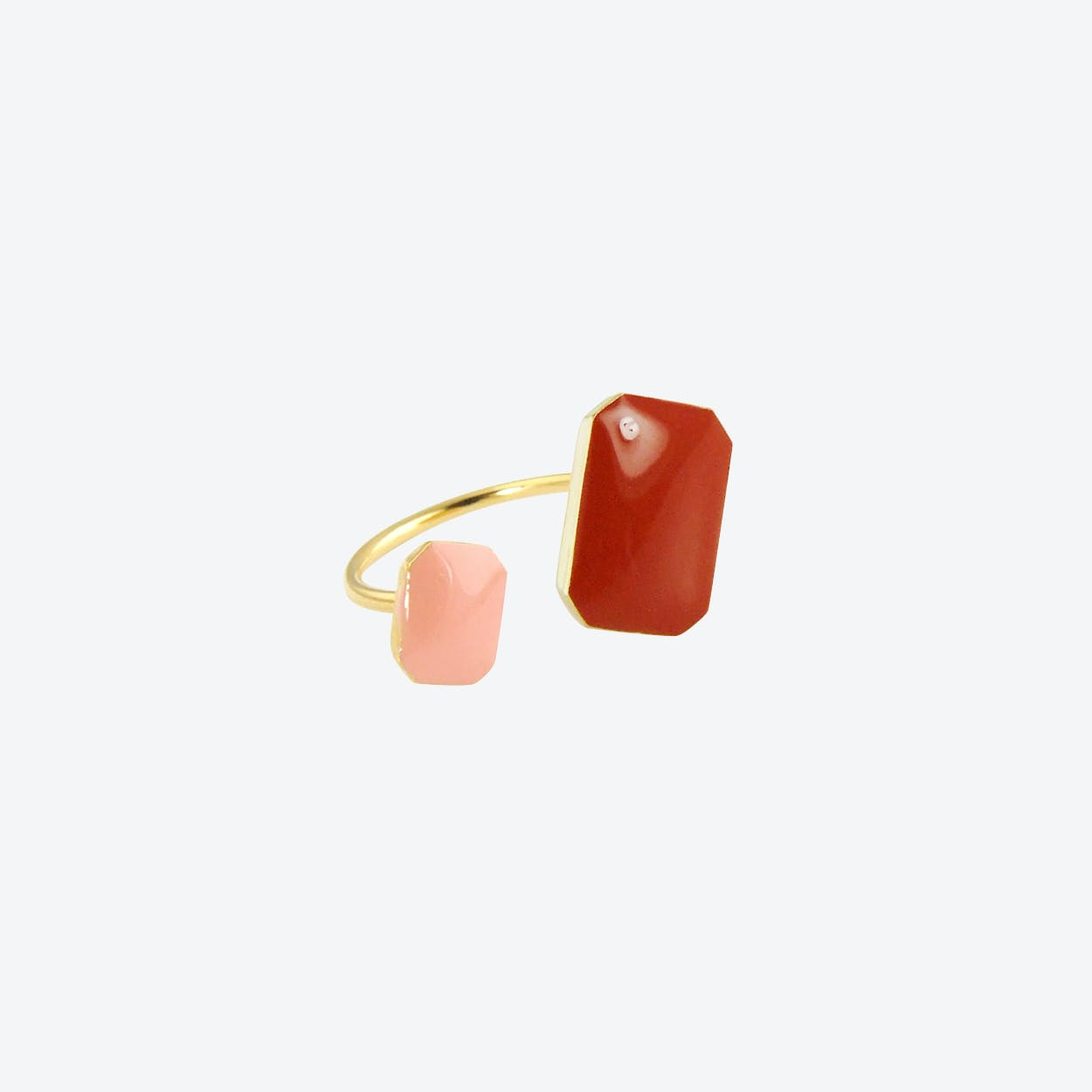 Gold Plated Floating Ring in Brandy and Blush