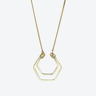 Gold Hexagons Necklace in Opal White