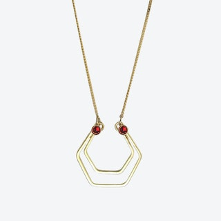Gold Hexagons Necklace in Red