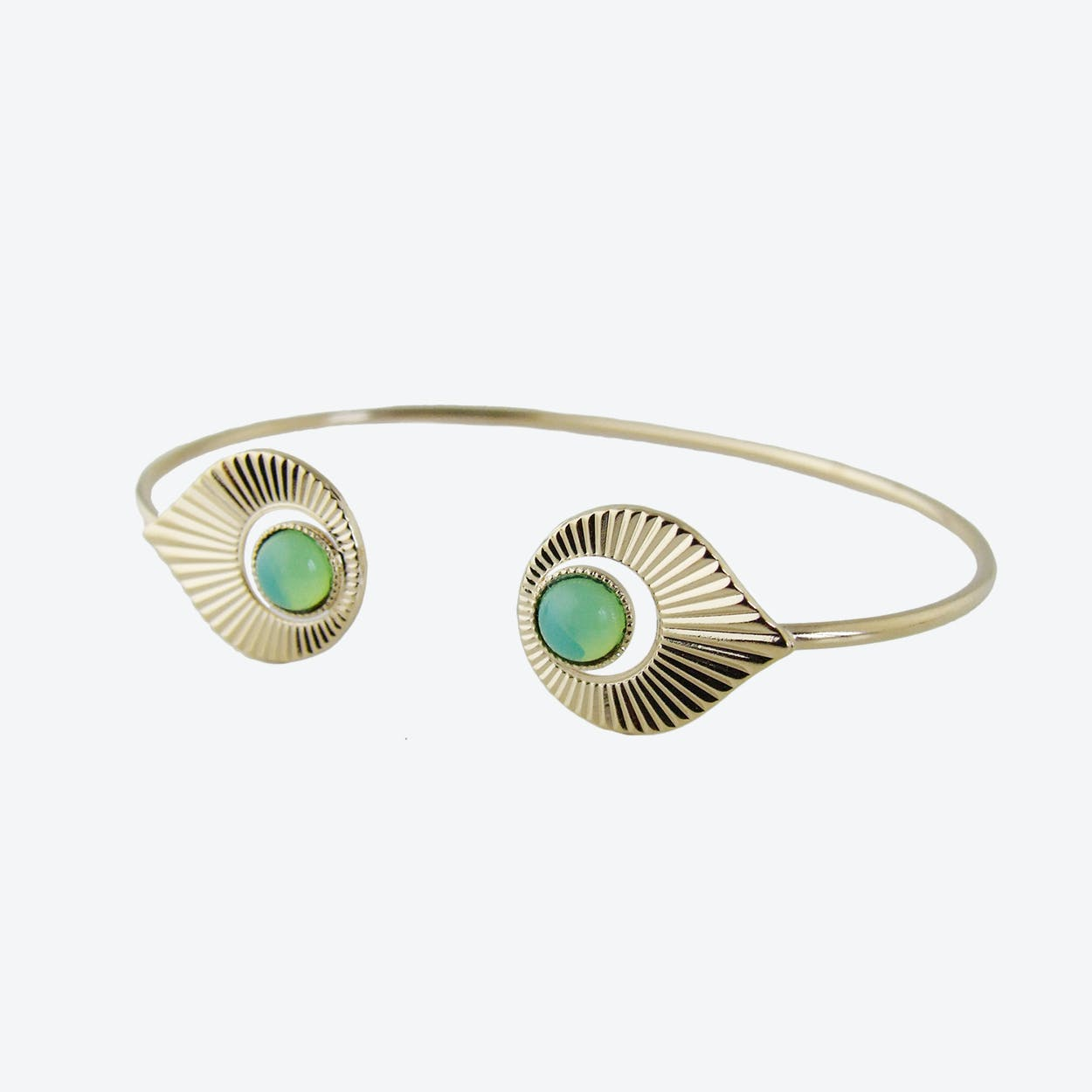 Gold Art Deco inspired Open Bangle in Mint