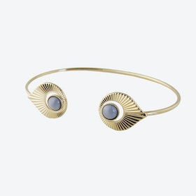 Gold Art Deco inspired Open Bangle in Grey