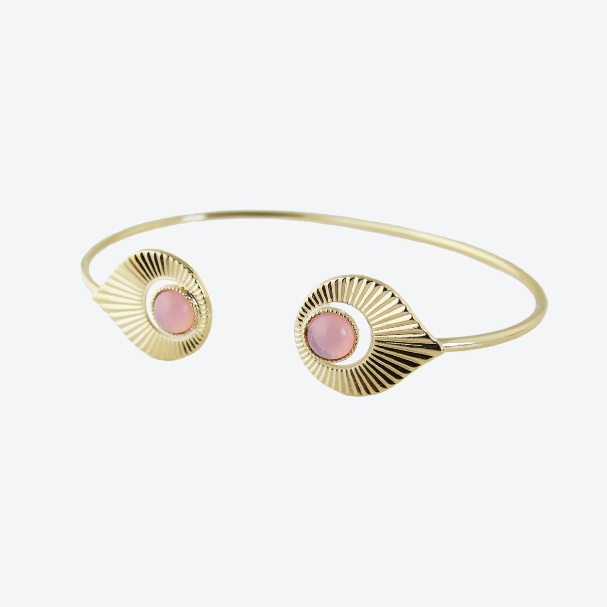 Gold Art Deco inspired Open Bangle in Opal Pink