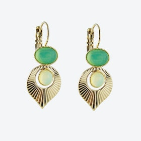 Gold Art Deco Style Earrings in Mint and Yellow