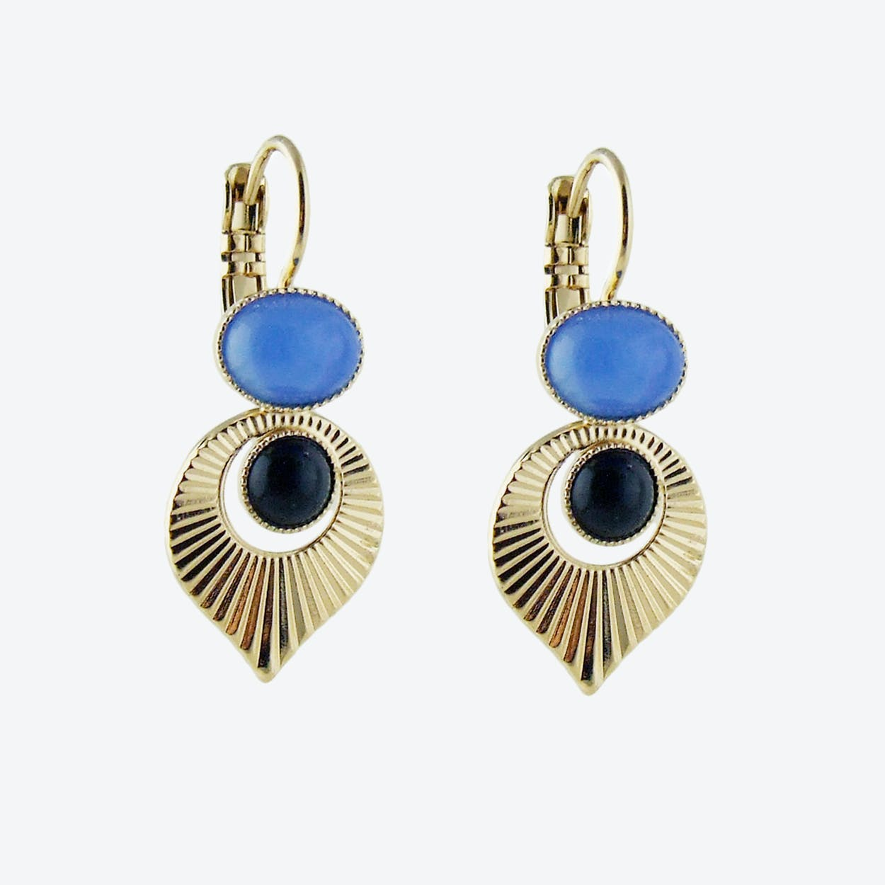 Gold Art Deco Style Earrings in Black and Blue
