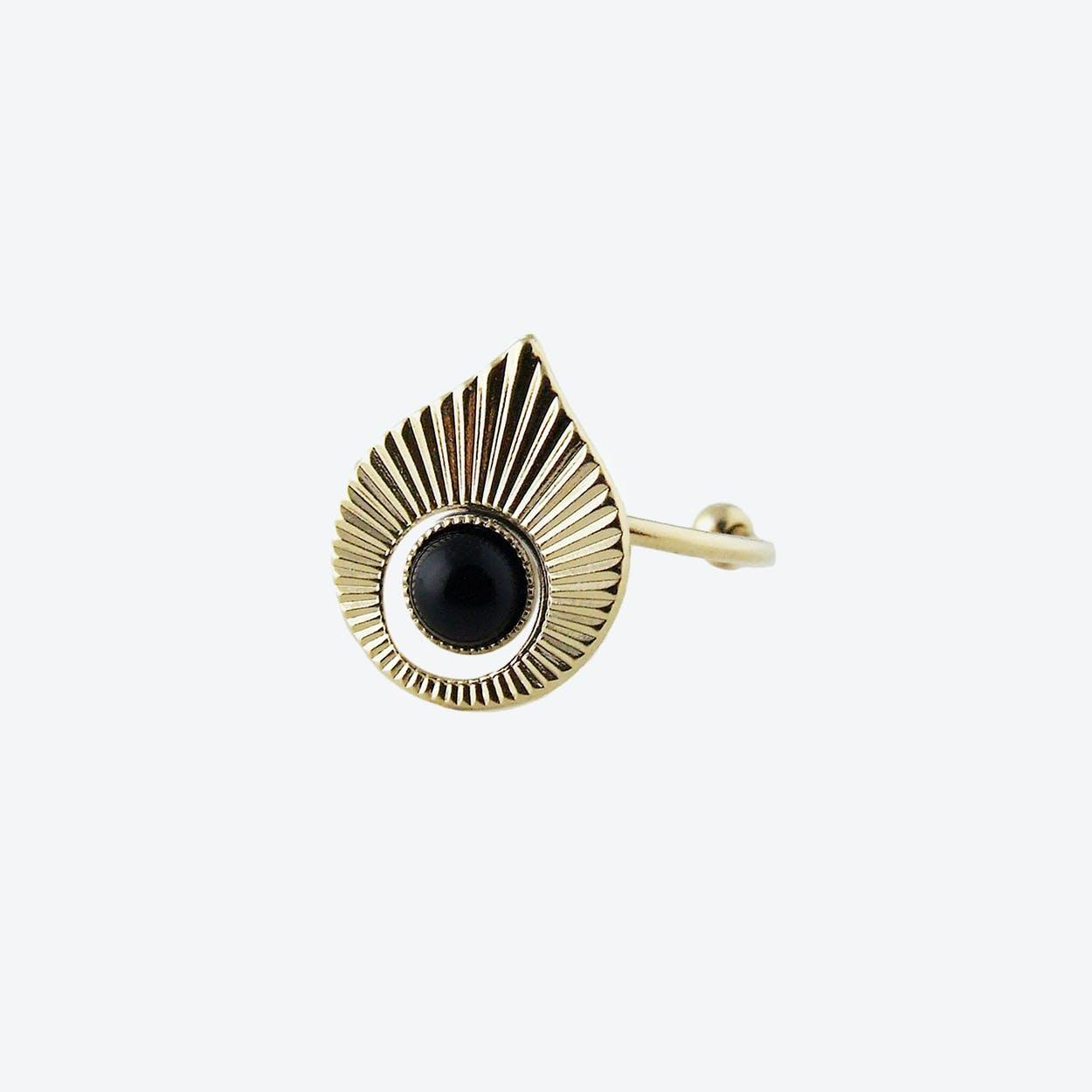 Gold Art Deco inspired Ring in Black