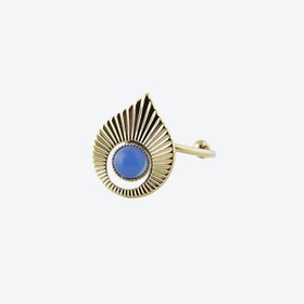 Gold Art Deco inspired Ring in Opal Blue