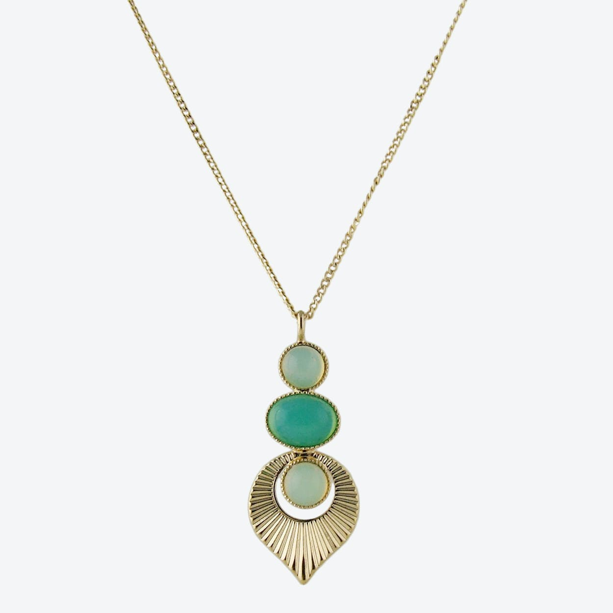 Gold Art Deco Style Pendant Necklace in Mint and Yellow