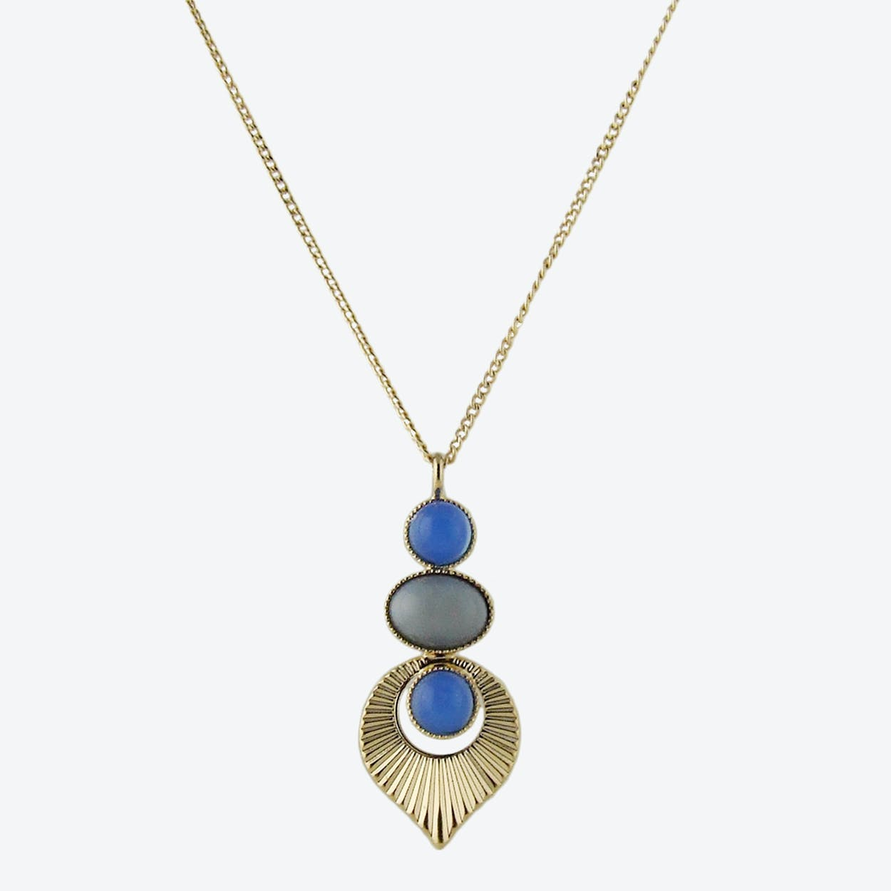 Gold Art Deco Style Pendant Necklace in Grey and Blue