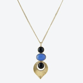 Gold Art Deco Style Pendant Necklace in Blue and Black