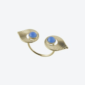 Gold Art Deco Style Floating Ring in Blue