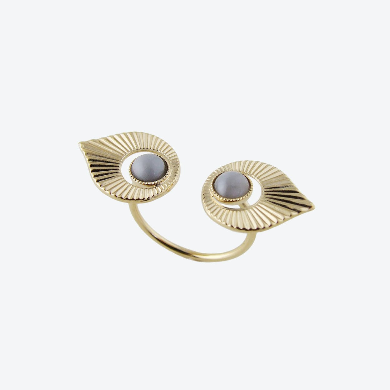 Gold Art Deco Style Floating Ring in Grey