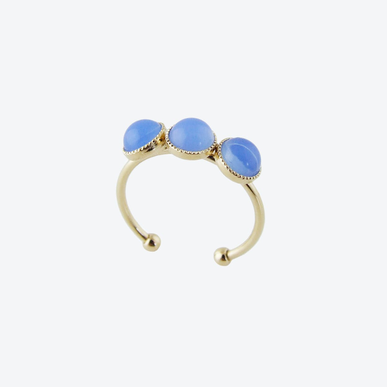 Gold Cabochons Ring in Blue