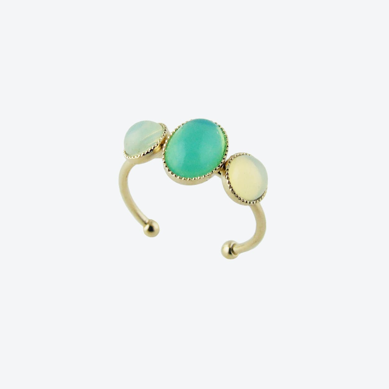 Gold Cabochons Ring in Mint and Yellow