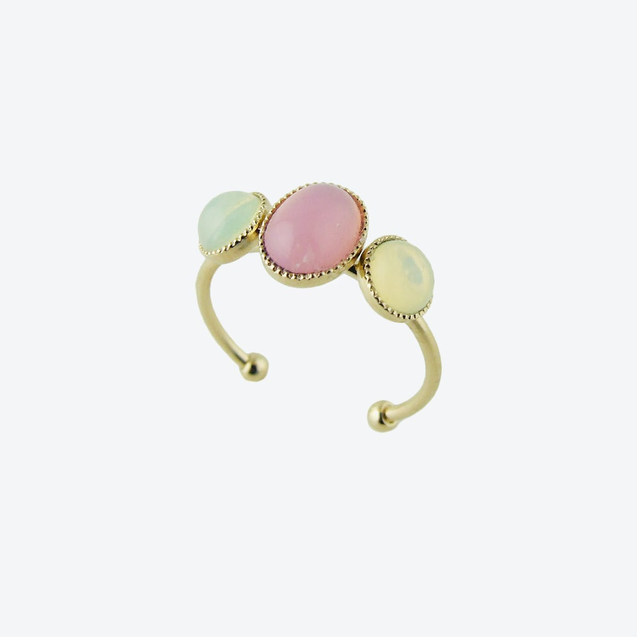 Gold Cabochons Ring in Pink and Yellow